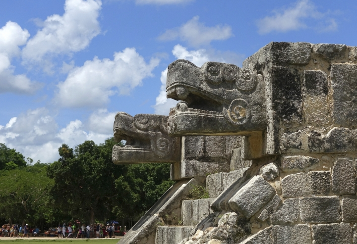 Stone-carved jaguars flank a staircase at the Chichen-Itza ruins Friday, July 22, 2016, in Yucatan, Mexico. (AP Photo/Ross D. Franklin)