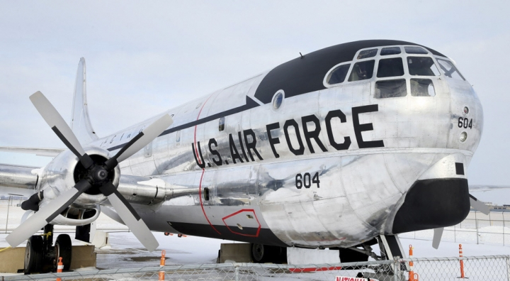This Wednesday, Jan. 17, 2018 photo shows the results of a restored 1953 Boeing KC-97G Stratofreighter in Cleveland. A convention center in Cleveland says it's turning the Cold War-era aircraft into a stationary restaurant in a bid to attract more visitors with a distinctive dining experience. The I-X Center hopes to renovate the interior of the air tanker into a 50-seat restaurant by 2020. (Chuck Crow/The Plain Dealer via AP)