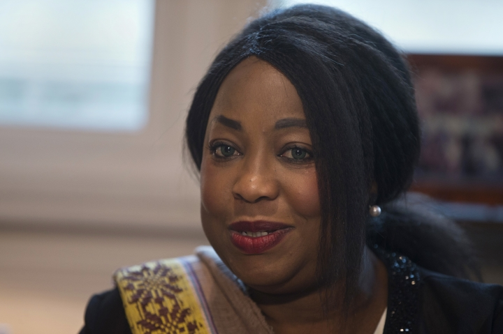 FIFA Secretary General Fatma Samba Diouf Samoura meets with Spain's Sports Minister Ínigo Mendez de Vigo in Madrid, Spain, Monday, Feb. 5, 2018. A FIFA delegation led by Samoura has met with Spanish officials on Monday to discuss concerns about government meddling in the local soccer federation. A suspension of the Spanish federation could potentially lead to the national team's exclusion from the World Cup in Russia.(AP Photo/Paul White)