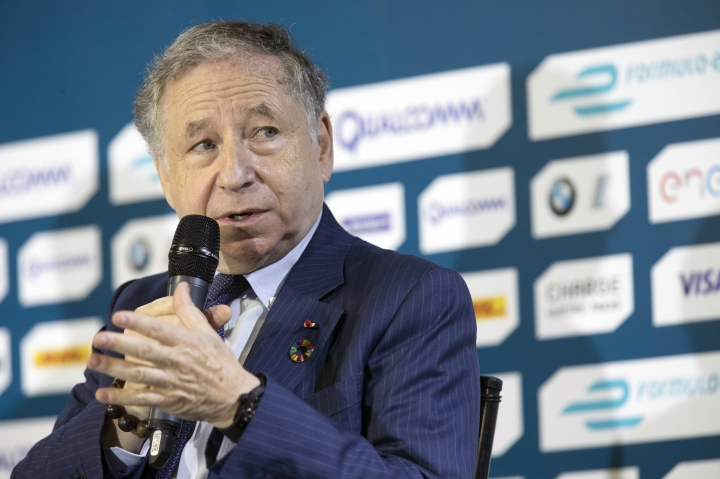"FILE - In this Friday, July 14, 2017 file photo, FIA President Jean Todt speaks during a news conference in the Brooklyn borough of New York New York. ""Grid kids"" are replacing ""grid girls"" in Formula One as the motorsport series continues to change ahead of the new season. F1 says youngsters from motorsport clubs, who for example are already competing in karting, will stand alongside drivers on the grid before races this season, Monday, Feb. 5, 2018. (AP Photo/Mary Altaffer, File)"