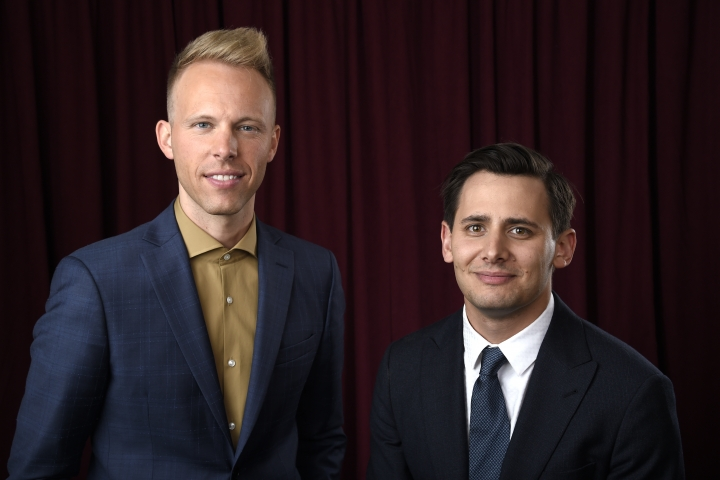 Justin Paul, left, and Benj Pasek pose for a portrait at the 90th Academy Awards Nominees Luncheon at The Beverly Hilton hotel on Monday, Feb. 5, 2018, in Beverly Hills, Calif. (Photo by Chris Pizzello/Invision/AP)