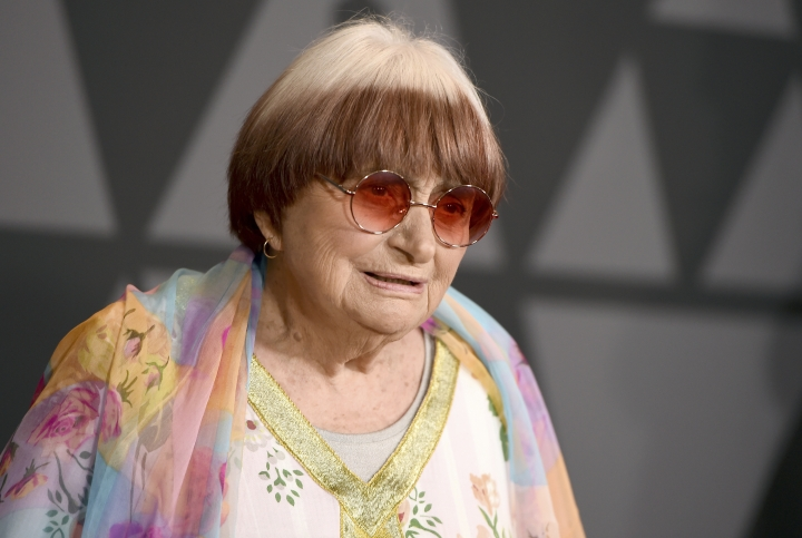 """FILE - In this Nov. 11, 2017 file photo, filmmaker Agnes Varda arrives at the 9th annual Governors Awards in Los Angeles. Varda shares the documentary feature Oscar nomination for """"Faces Places"""" with her co-director, JR, and her producer daughter, Rosalie Varda. She received an honorary Academy Award in November recognizing her decades of filmmaking. (Photo by Jordan Strauss/Invision/AP, File)"""