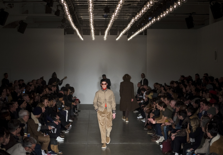 A model wears fashion from the Todd Snyder collection during Fashion Week in New York, Monday, Feb. 5, 2018. (AP Photo/Craig Ruttle)