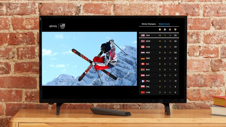 "This 2018 image provided by Comcast Corp. shows the Olympics interface on an X1 TV set-top box for Comcast customers. NBC owner Comcast will include online coverage on its TV set-top boxes and TV coverage on its mobile apps to offer viewers one-stop shop to the Olympics. Comcast and other cable providers will also offer the opening ceremony and other events in sharper, ""4K"" resolution, though with a day's delay. (Comcast Corp. via AP)"