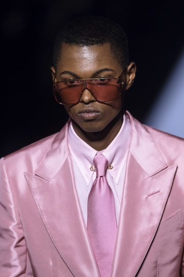 Tom Ford men's collection is modeled during Men's Fashion Week in New York, Tuesday, Feb. 6, 2018. (AP Photo/Andres Kudacki)