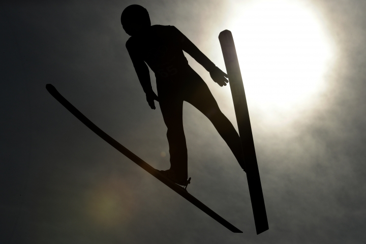 Poland's Kamil Stoch practices for the men's ski jumping competition in the 2018 Winter Olympics at the Olympic Sliding Centre in Pyeongchang, South Korea, Wednesday, Feb. 7, 2018. (AP Photo/Charlie Riedel)