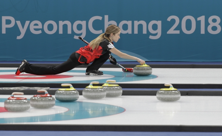 Canada's Kaitlyn Lawes curler practice during the mixed doubles training session ahead of the 2018 Winter Olympics in Gangneung, South Korea, Wednesday, Feb. 7, 2018. (AP Photo/Aaron Favila)