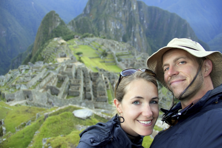 """This undated image provided by Mike and Anne Howard shows the couple on a trek to Machu Picchu in Peru. The Howards' book, """"Ultimate Journeys for Two: Extraordinary Destinations on Every Continent"""" grew out of their five-year adventure across seven continents as """"the world's longest honeymooners,"""" an experience they chronicled on their blog HoneyTrek.com. (Mike and Anne Howard via AP)"""