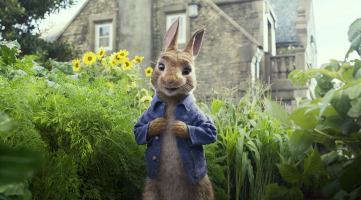 "This image released by Columbia Pictures shows Peter Rabbit, voiced by James Corden and Cottontail in a scene from ""Peter Rabbit."" (Columbia Pictures/Sony via AP)"