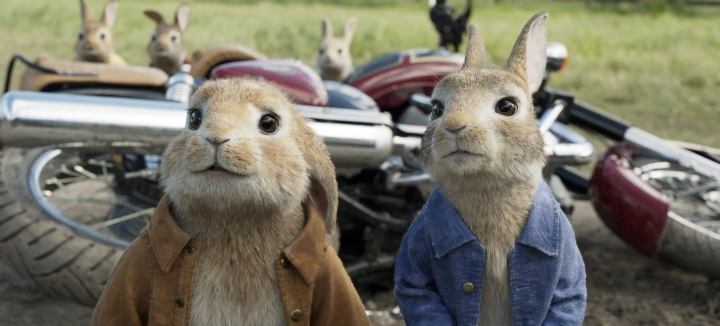 "This image released by Columbia Pictures shows characters Benjamin, voiced by Colin Moody, left, and Peter Rabbit, voiced by James Corden and Cottontail in a scene from ""Peter Rabbit."" (Columbia Pictures/Sony via AP)"