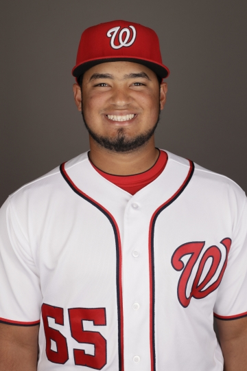 FILE - This is a 2017 photo of Raudy Read of the Washington Nationals. Read has been suspended for the first 80 games of the season following a positive test for Boldenone under Major League Baseball's drug-testing program. The commissioner's office announced the discipline Wednesday, Feb. 7, 2018 after it was upheld by arbitrator Mark Irvings. (AP Photo/Matt Rourke, file)