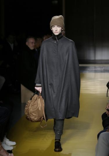 A model walks the runway at a Hugo Boss fashion show during Fashion Week in New York, Wednesday, Feb. 7, 2018. (AP Photo/Seth Wenig)