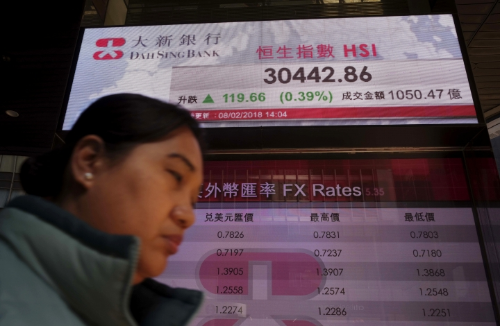 A woman walks past a bank electronic board showing the Hong Kong share index at Hong Kong Stock Exchange Thursday, Feb. 8, 2018. Asian stock markets were mixed Thursday with some benchmarks erasing early morning gains. Investors remained skittish after this week's financial turmoil and overnight losses on Wall Street. (AP Photo/Vincent Yu)