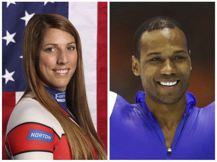 "This combination of images shows United States' athletes Erin Hamlin, left, and Shani Davis. A tweet posted to the account of Davis is blasting the selection of luge athlete Hamlin as the U.S. flagbearer for the opening ceremony at the Pyeongchang Games. The tweet says the selection was made ""dishonorably,"" and included a reference to Black History Month in a hashtag. Hamlin and Davis each got four votes in the final balloting of the athlete-led process. (AP Photos/File)"