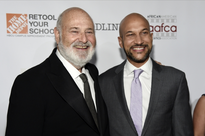 Filmmaker Rob Reiner, left, recipient of the Stanley Kramer Award for Social Justice, poses with actor/comedian Keegan-Michael Key at the 9th Annual African American Film Critics Association Awards on Wednesday, Feb. 7, 2018, in Los Angeles. (Photo by Chris Pizzello/Invision/AP)