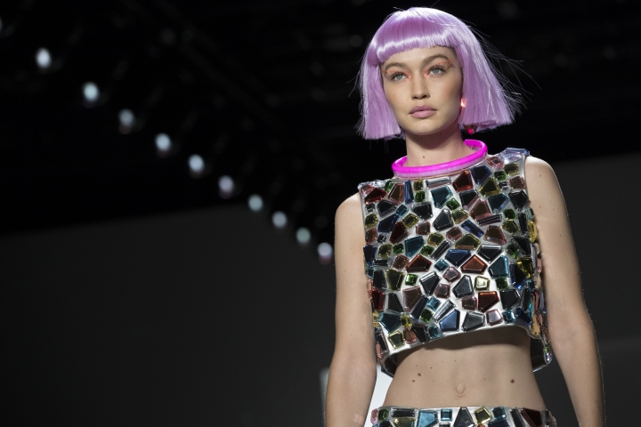 Gigi Hadid models the Jeremy Scott collection during Fashion Week in New York, Thursday, Feb. 8, 2018. (AP Photo/Mary Altaffer)