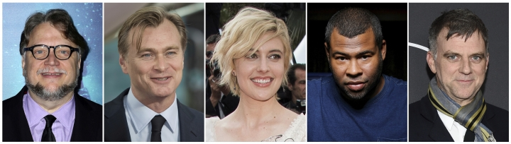 "This combination photo shows nominated directors, from left, Guillermo del Toro for ""The Shape of Water,"" Christopher Nolan for ""Dunkirk,"" Greta Gerwig for ""Lady Bird,"" Jordan Peele for ""Get Out,"" and Paul Thomas Anderson for ""Phantom Thread."" The 90th Academy Awards will be held on Sunday, March 4. (AP Photo)"