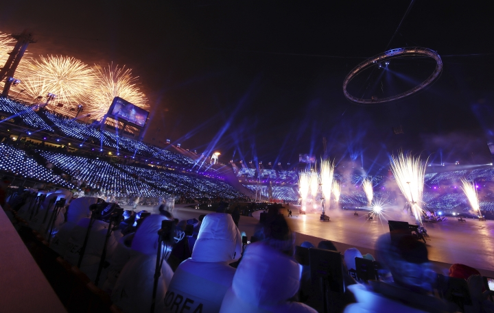 Fireworks explode over the opening ceremony of the 2018 Winter Olympics in Pyeongchang, South Korea, Friday, Feb. 9, 2018. (Clive Mason/Pool Photo via AP)