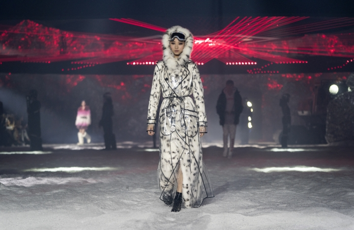 A model wears fashion from the Philipp Plein collection during Fashion Week in New York, Saturday, Feb. 10, 2018. (AP Photo/Craig Ruttle)