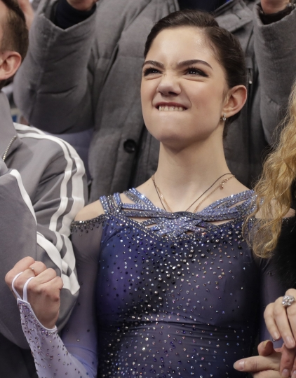 Evgenia Medvedeva, of the Olympic Athlete of Russia reacts as she waits for her scores following her performance in the ladies single figure skating short program in the Gangneung Ice Arena at the 2018 Winter Olympics in Gangneung, South Korea, Sunday, Feb. 11, 2018. (AP Photo/Julie Jacobson)