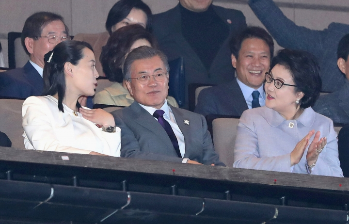"Kim Yo Jong, left, North Korean leader Kim Jong Un's sister, talks with South Koran President Moon Jae-in and his wife Kim Jung-sook during a performance of North Korea's Samjiyon Orchestra at National Theater in Seoul, South Korea, Sunday, Feb. 11, 2018. A rare invitation to Pyongyang for South Korea's president marked Day Two of the North Korean Kim dynasty's southern road tour, part of an accelerating diplomatic thaw that included some Korean liquor over lunch and the shared joy of watching a ""unified"" Korea team play hockey at the Olympics. (Bee Jae-man/Yonhap via AP)"