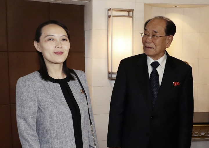 "Kim Yo Jong, left, sister of North Korean leader Kim Jong Un, and Kim Yong Nam, North Korea's nominal head of state, arrive to attend a luncheon with South Korean Prime Minister Lee Nak-yeon in Seoul, South Korea, Sunday, Feb. 11, 2018. A rare invitation to Pyongyang for South Korea's president marked Day Two of the North Korean Kim dynasty's southern road tour, part of an accelerating diplomatic thaw that included some Korean liquor over lunch and the shared joy of watching a ""unified"" Korea team play hockey at the Olympics. (Kim Sung-doo/Yonhap via AP)"