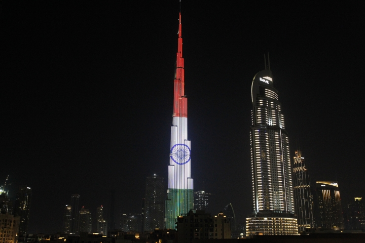The Burj Khalifa, the world's tallest building, displays the flag of India in Dubai, United Arab Emirates, Saturday, Feb. 10, 2018. Indian Prime Minister Narendra Modi arrived in the UAE on Saturday night as part of a tour of the Middle East. (AP Photo/Jon Gambrell)