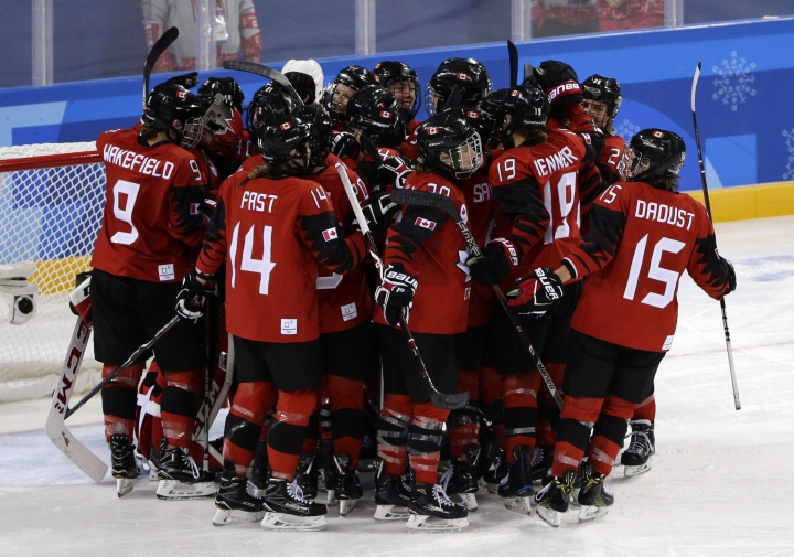 Players from Canada celebrate after the preliminary round of the women's hockey game against the team from Russia at the 2018 Winter Olympics in Gangneung, South Korea, Sunday, Feb. 11, 2018. Canada won 5-0. (AP Photo/Frank Franklin II)