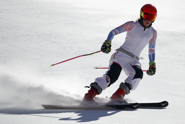 Mikaela Shiffrin of the United States skis during an inspection of the giant slalom course at the Yongpyong Alpine Center at the 2018 Winter Olympics in Pyeongchang, South Korea, Sunday, Feb. 11, 2018. (AP Photo/Christophe Ena)