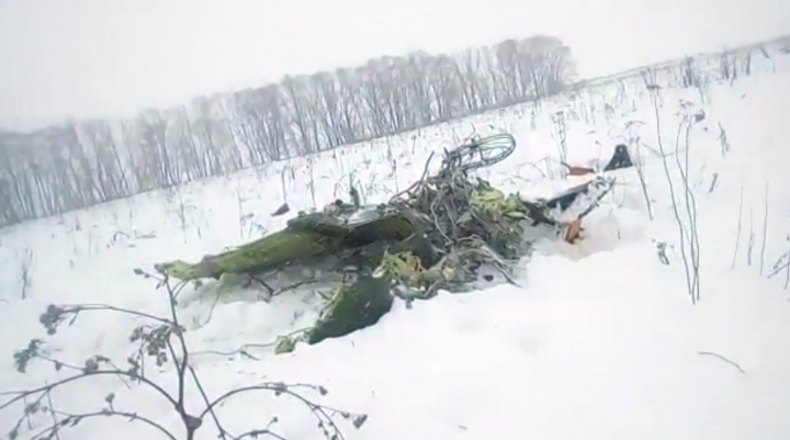 In this screen grab provided by the Life.ru, the wreckage of a AN-148 plane is seen in Stepanovskoye village, about 40 kilometers (25 miles) from the Domodedovo airport, Russia, Sunday, Feb. 11, 2018. Russia's Emergencies Ministry says a passenger plane has crashed near Moscow and fragments of it have been found. (Life.ru via AP)