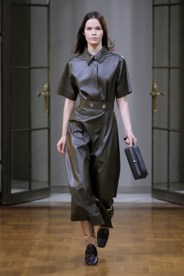 In this photo provided by Victoria Beckham, the Victoria Beckham collection is modeled during Fashion Week in New York, Sunday Feb. 11, 2018. (Courtesy of Victoria Beckham via AP)