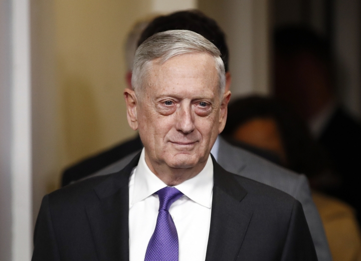 In this Feb. 7, 2018, photo, Defense Secretary Jim Mattis arrives for the daily news briefing at the White House in Washington. The United States is urging allied nations to help deal with the growing number of foreign fighters that are being held by the U.S.-backed Syrian Democratic Forces, saying the militants should be turned over to face justice in their home countries. Mattis is expected to raise the issue during a meeting in Rome this week with other members of the coalition that is fighting the Islamic State group in Iraq and Syria. (AP Photo/Carolyn Kaster)