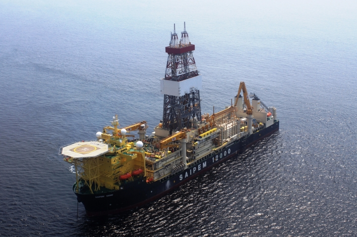 An undated photo of the the Saipem 12000 drilling floater. Turkish warships continue to impede a rig from reaching a location off Cyprus where Italian energy company Eni is scheduled to drill for gas, the Cypriot government said Monday, Feb. 12, 2018. Spokesman Nicos Christodoulides told state broadcaster RIK that the rig remains anchored about 30 miles (50 kilometers) from the drilling target off the island's southeastern coast. (Saipem via AP)