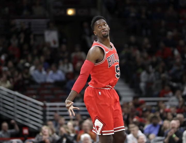 Chicago Bulls' Bobby Portis reacts after making a three-point basket during the first half of an NBA basketball game against the Orlando Magic Monday, Feb. 12, 2018, in Chicago. (AP Photo/Charles Rex Arbogast)