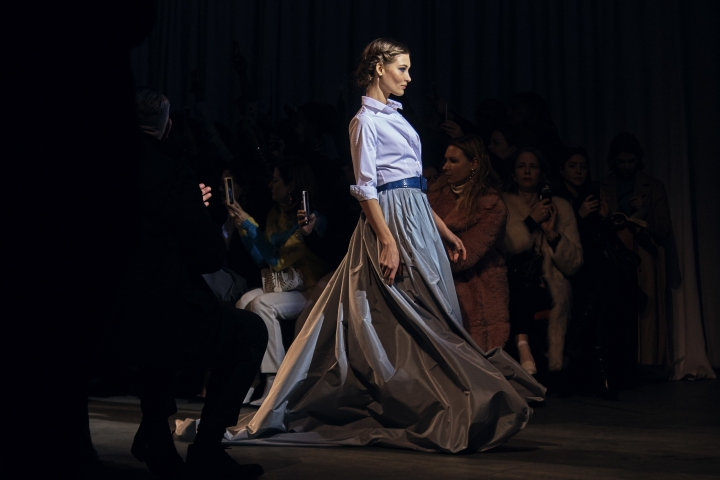 Fashion from Carolina Herrera collection is modeled during Fashion Week in New York, Monday, Feb. 12, 2018. (AP Photo/Andres Kudacki)