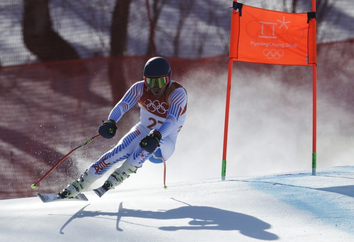 United States' Ted Ligety skis during the downhill portion of the men's combined at the 2018 Winter Olympics in Jeongseon, South Korea, Tuesday, Feb. 13, 2018. (AP Photo/Michael Probst)