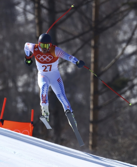 United States' TedLigety skis during the downhill portion of the men's combined at the 2018 Winter Olympics in Jeongseon, South Korea, Tuesday, Feb. 13, 2018. (AP Photo/Alessandro Trovati)
