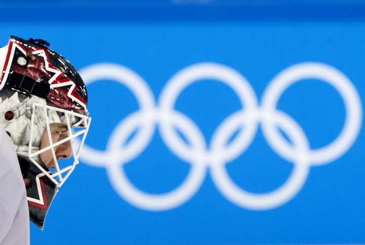 Canada's goaltender Ben Scrivens looks up during a men's ice hockey team practice during the 2018 Winter Olympic Games in Gangneung, South Korea on Saturday, Feb. 10, 2018. (Nathan Denette/The Canadian Press via AP)