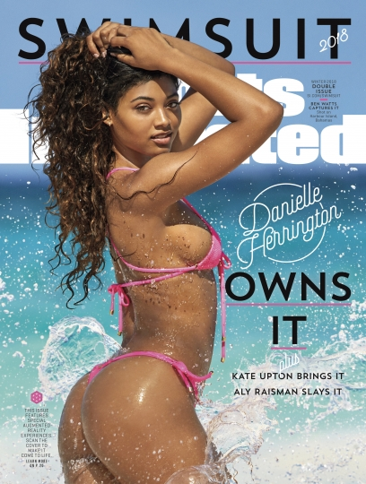 This image provided by Sports Illustrated shows the cover for the 2018 swimsuit edition issue of the magazine, showing Danielle Herrington. The magazine revealed its swimsuit edition cover Tuesday, Feb. 13, 2018. Herrington is the third black woman to appear on the cover of the annual issue that launched in 1964. (Ben Watts/Sports Illustrated via AP)