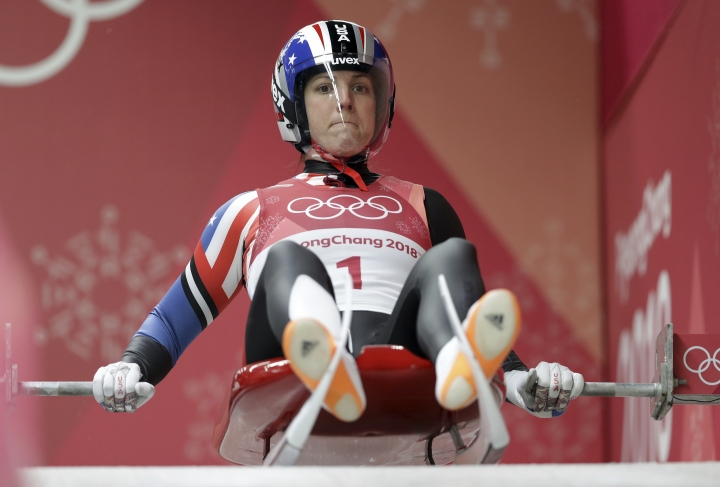 Erin Hamlin of the United States prepares to start her third run during the women's luge final at the 2018 Winter Olympics in Pyeongchang, South Korea, Tuesday, Feb. 13, 2018. (AP Photo/Michael Sohn)