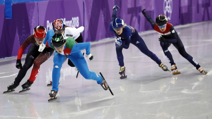AriannaFontana of Italy leads the field during the ladies' 500 meters short track speedskating final in the Gangneung Ice Arena at the 2018 Winter Olympics in Gangneung, South Korea, Tuesday, Feb. 13, 2018. (AP Photo/Patrick Semansky)