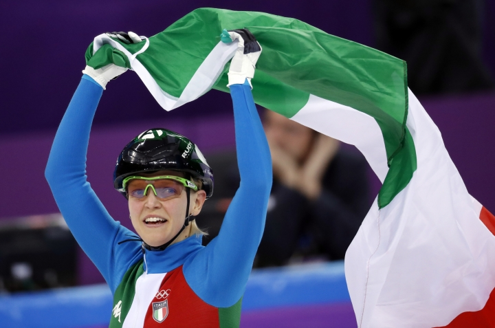 AriannaFontana of Italy celebrates after winning the ladies' 500 meters short track speedskating final in the Gangneung Ice Arena at the 2018 Winter Olympics in Gangneung, South Korea, Tuesday, Feb. 13, 2018. (AP Photo/Bernat Armangue)