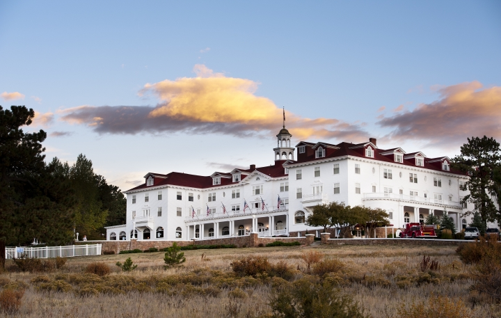 """This undated photo shows The Stanley Hotel in Estes Park, Colo. The hotel is a favorite among fans of the movie """"The Shining"""". The movie wasn't shot here, but author Stephen King was inspired to write the novel that the movie is based on after a stay here. (Grand Heritage Hotel Group via AP)"""