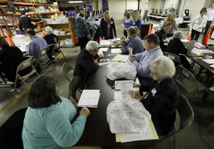 """FILE- In this Dec. 1, 2016, file photo, workers begin a statewide presidential election recount in Milwaukee. Since last July, a bipartisan team at Harvard, including former U.S. Marine and Army cyberwarriors, national security eggheads and Google engineers, has been looking into how to safeguard the vote against interference. The group drafted its latest protect-the-vote election """"playbooks"""" intended to prepare state and local officials for the worst. (AP Photo/Morry Gash, File)"""