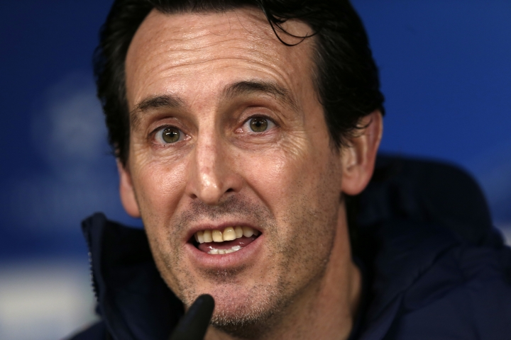 PSG's head coach Unai Emery talks to journalists during a news conference at the Santiago Bernabeu stadium in Madrid, Tuesday, Feb. 13, 2018. Paris Saint Germain will play Real Madrid on Wednesday 14 in a Champions League Round of 16 first leg soccer match. (AP Photo/Francisco Seco)