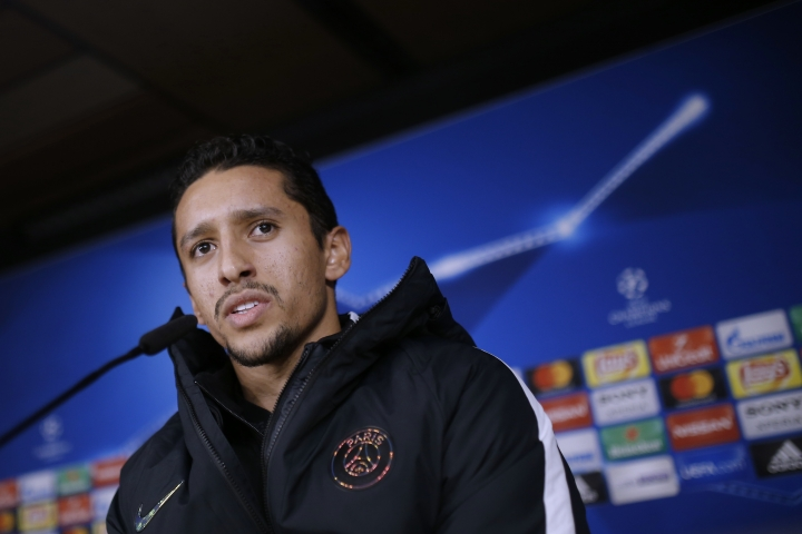 PSG's Marquinhos answers a question during a news conference at the Santiago Bernabeu stadium in Madrid, Tuesday, Feb. 13, 2018. Paris Saint Germain will play Real Madrid on Wednesday in a Champions League Round of 16 first leg soccer match. (AP Photo/Francisco Seco)