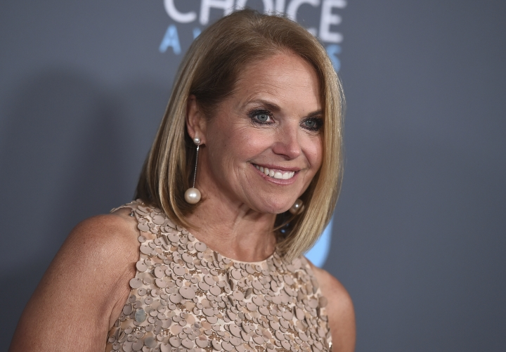 FILE - In this Jan. 11, 2018 file photo, Katie Couric poses in the press room at the 23rd annual Critics' Choice Awards in Santa Monica, Calif. Couric has apologized for comments that she made during NBC's coverage of the Olympics opening ceremony that the Dutch are so successful in speed skating because skates have been used as a form of transportation when canals freeze in the Netherlands. (Photo by Jordan Strauss/Invision/AP, File)