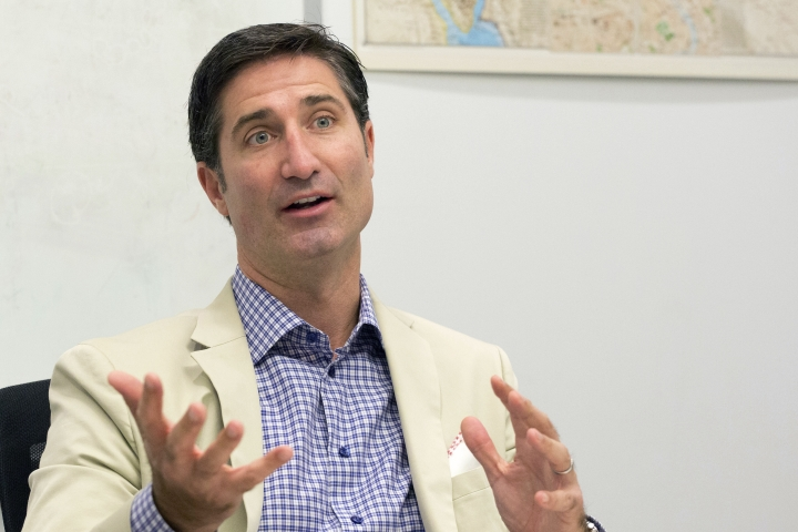 FILE- In this June 9, 2015, file photo, Taco Bell CEO Brian Niccol speaks during an interview at The Associated Press in New York. Chipotle Mexican Grill announced Tuesday, Feb. 13, 2018, that its Board of Directors has appointed Niccol as chief executive officer and a member of the Board, effective March 5, 2018. (AP Photo/Mark Lennihan, File)