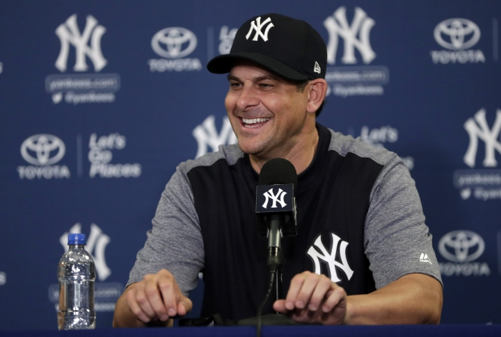 New York Yankees manager Aaron Boone speaks during a news conference at baseball spring training camp, Tuesday, Feb. 13, 2018, in Tampa, Fla. (AP Photo/Lynne Sladky)