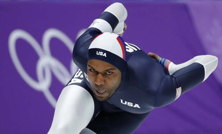 Shani Davis of the U.S. competes during the men's 1,500 meters speedskating race at the Gangneung Oval at the 2018 Winter Olympics in Gangneung, South Korea, Tuesday, Feb. 13, 2018. (AP Photo/John Locher)